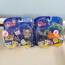 Littlest Pet Shop 973 grey Persian cat sushi 994 black cat pumpkin lot