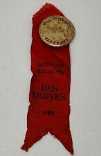 Gar Ribbon Des Moines Iowa 1903 32nd Infantry Celluloid Button 19-1219