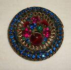 Vintage Round WEISS Rhinestone Pin Brooch Costume Jewelry