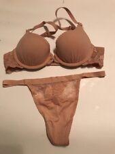 Victoria's Secret Angels Love Push Up Bra Set 32A,S NWT Nude Beige