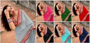 Saree Indian Sari Designer Bollywood Wear Blouse Sari Pakistani Party Wedding SN