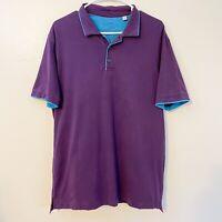 ROBERT GRAHAM Men's Polo Style 100% Cotton Large PURPLE w/ Blue SS Shirt