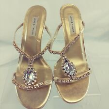 Lord & Taylor Womens Shoes Gold Leather Sandals Size 7M Crystals  MSRP $86