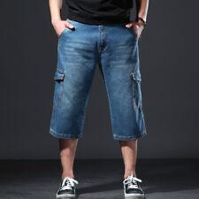 Men Cargo Denim Shorts Jeans Cropped Capri Trousers Pants Baggy Pockets Oversize