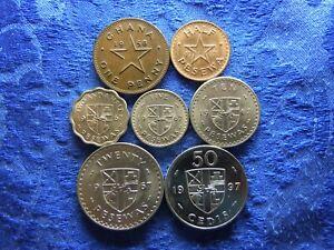 GHANA 1 PENNY 1958, 1/2, 2,5, 5, 10, 20 PESEWAS 1967, 50 CEDIS 1997 (7)