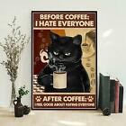 Before Coffee After Coffee Cat Poster, Black Cat With Coffee Poster