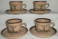 1980s Set (4) Denby SAVOY PATTERN Cups and Saucers MADE IN ENGLAND