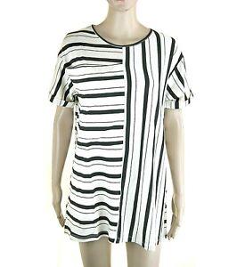 Camicia Lunga Blusa Donna Microabito RISSKIO Camicione I874 Bianco/Nero Tg S M