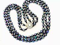 Vintage Triple String CARNIVAL PEACOCK Aurora Borealis Glass Bead  Necklace