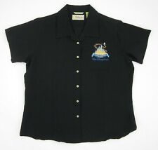 Women's Walt Disney World Cinderella Castle Cubavera Black Camp Shirt Sz Large