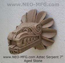"Feathered Serpent Head of Quetzalcoaltl Aztec Maya Artifact Carved Sculpture 7"""