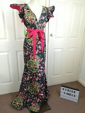 Floral-Jacquard Embossed Maxi Party Occasion Dress African Print