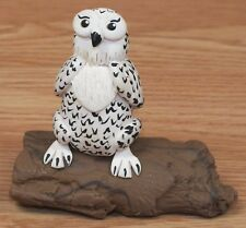Vintage 1983 Cecile Black & White Owl Resting On Log Collectible Pottery Figure!