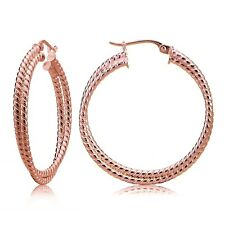 Rose Gold Tone over Sterling Silver Intertwining Rope Hoop Earrings, 30mm