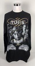Tupac Shakur Mens 3XL Shirt Long Sleeve Black 100% Cotton Vintage