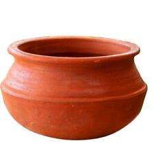 Earthen Clay Cooking Pot With Lid Bowl Handi 0.5L 1.5L 4L 9L Open Fire Gas Top