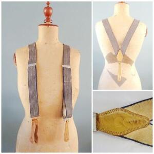 Vintage CC41 Braces Gentlemans Mens Suspenders WW2 Era Navy Stripe Button 1940s