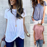 Womens Summer Cotton Blouse Casual Loose O Neck T-shirt Short Sleeve Tops