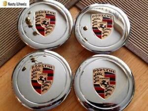 Porsche 911 930 944 Fuchs Wheel Center Caps- 80mm (Set of 4) Chrome -Color Crest