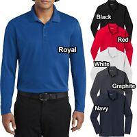 Mens Micro Mesh Long Sleeve Polo Shirt Moisture Wick Perfomance XS-XL 2X 3X 4X