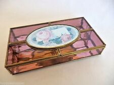 Stained Glass Jewelry Box 50th Anniversary Brass Mirror Handcrafted Mexico New