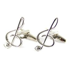 New Treble Clefs Cuff Link With Box Rhodium Plated Music Clefs Cufflink 0028