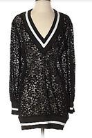 Olive + Joy Jamila Black Lace White Trim V-neck Sheer Tunic Top Sz L NEW NWT