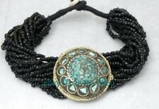 Lucky Chinese Miao Silver, inlaid natural turquoise & black agate bead bracelet