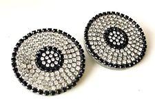 """Vtg Roxanne Assoulin Swarovski Crystal """"Disco Ball"""" Clip On Disc Earrings"""