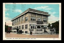 DR JIM STAMPS US POSTCARD ELKS HOME LIMA OHIO ANTIQUE CARS WHITE BORDER