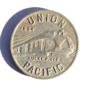 1934 Union Pacific Lucky Piece Souvenir Aluminum Alcoa Token 32 mm