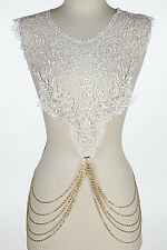 "26"" gold white choker collar bib necklace paisley body chain lace"