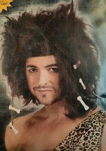 Adult Brown Caveman Wig w/ Bones - Halloween Accs - One Size - Cosplay Dress Up