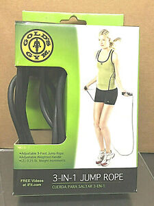 GOLD'S GYM  3-in-1 JUMP ROPE 9 ft adjustable weighted handle
