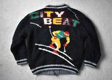 Vtg 80s GIGI Lambswool Sherpa Fleece Lined Retro Loose Sweater Cardigan Unisex L