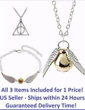 Golden Snitch Wings Necklace + Golden Snitch Bracelet + Deathly Hallows Necklace