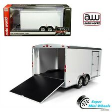 Auto World 1:18 American Muscle - Four Wheel Enclosed Trailer (White)