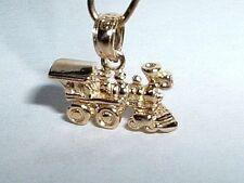 14k YELLOW GOLD 3D LOCOMOTIVE TRAIN CHARM