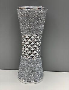 CRUSHED DIAMOND STUNNING SILVER CRYSTAL SILVER CERAMIC VASE, SPARKLY (25CM)✨