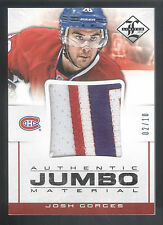 12/13 Panini Limited Jumbo Materials #JG Josh Gorges 3 Color Patch #02/10