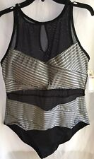 NWT Size 22W ANNE COLE SWIMSUIT 1-PIECE Black/ White Pinstripe Hi-Neck Mesh $120