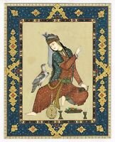 Persian Miniature Painting Of Persian Lady With Bird Hand-Painted Finest Artwork