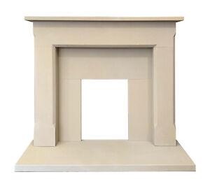 Sandstone Fireplace, Beige Natural Stone Mantel, Slip Set & Hearth