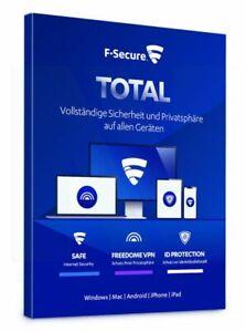 F-Secure Total Security & VPN 2021 - 1, 3, 5 oder 10 Geräte 1 oder 2 Jahre NEU