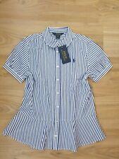 NEW designer NWT Girls Polo Ralph Lauren shirt striped blue AGE 14-16