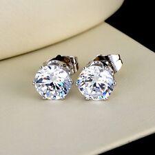 NEW 18k White Gold Filled Women's/Men's Earrings earstud 8mm round CZ Jewelry