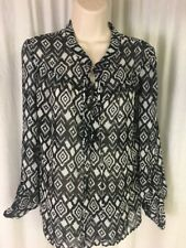 No Boundaries Juniors M (7-9) Tribal Black White Semi Sheer Long Sleeve EUC