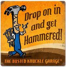 Busted Knuckle Garage Get Hammered Retro Metal Sign Man Cave Shop Club BUS086