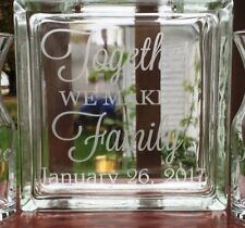 Single Glass Block Sand Ceremony Together We Make A Family Etched Block Only
