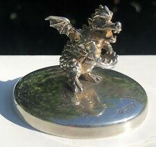 More details for solid sterling silver hallmarked dragon figure figurine ornament paperweight